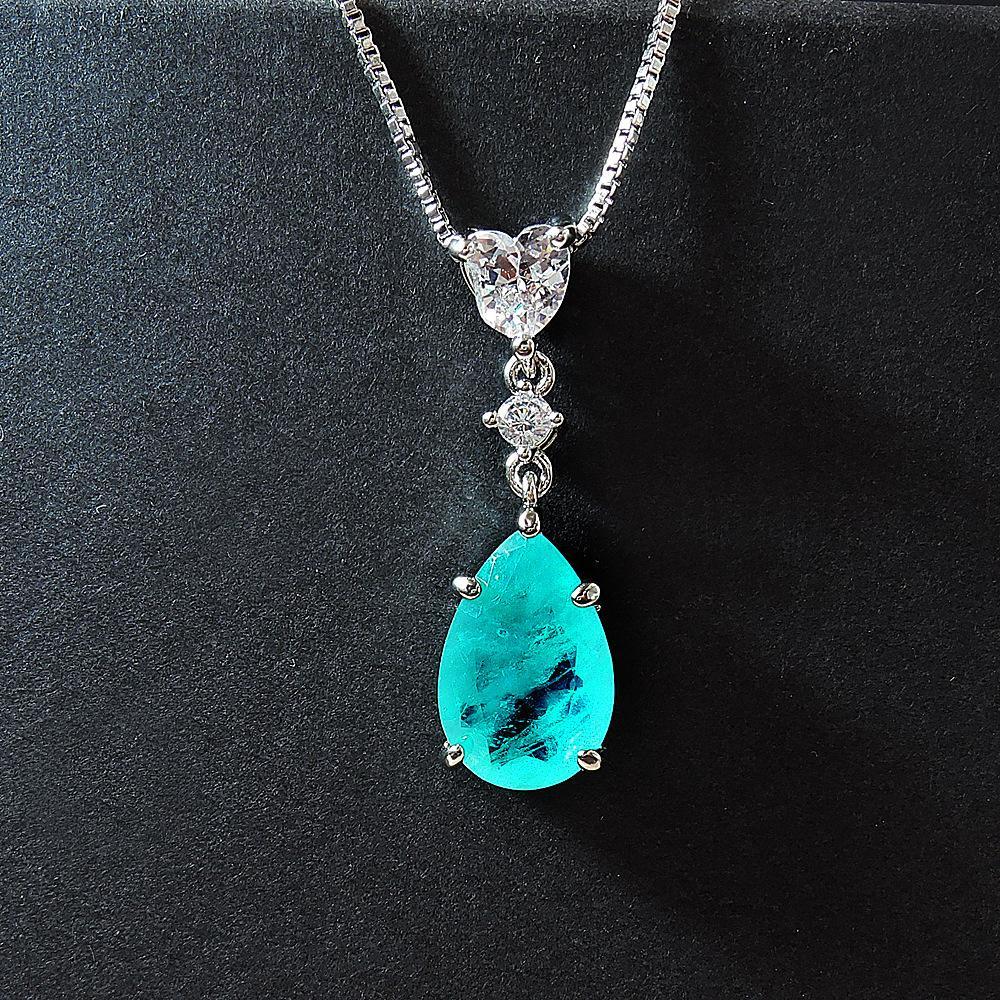 Стерлингового серебра 925 стерлингового серебра изумрудные Парая Турмалиновые драгоценные камни свадьбы Свадьба изысканные украшения романтические роскошные кулонки ожерелье