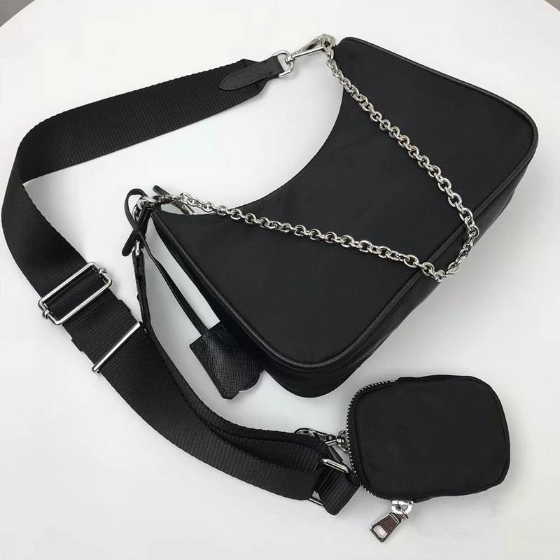 2020 Satış 3 Parça Set Çanta Kadın Tasarımcı Lüks Crossbody Hakiki Naylon Çanta Çantalar Bayan Tote Omuz Çantaları Sikke Çanta Üç Ürün