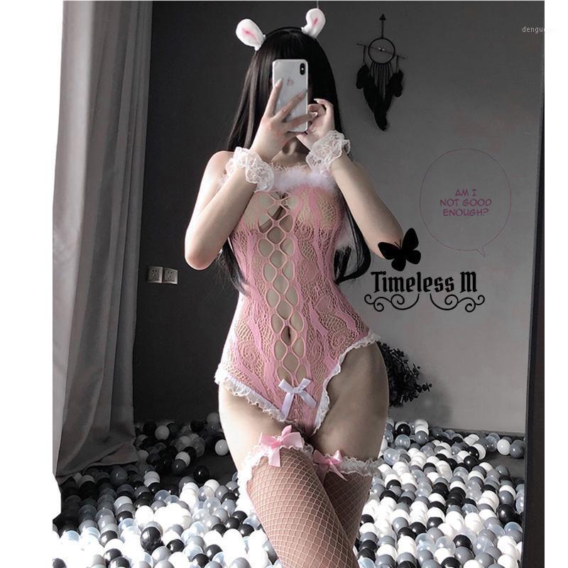 Paloli 2020 Frauen Sexy Dessous Fischnetz Bodysuit mit Strumpf Erotik Durchsuchen Durchkostüme Schwarz Rosa Spitze Cosplay Bustier1