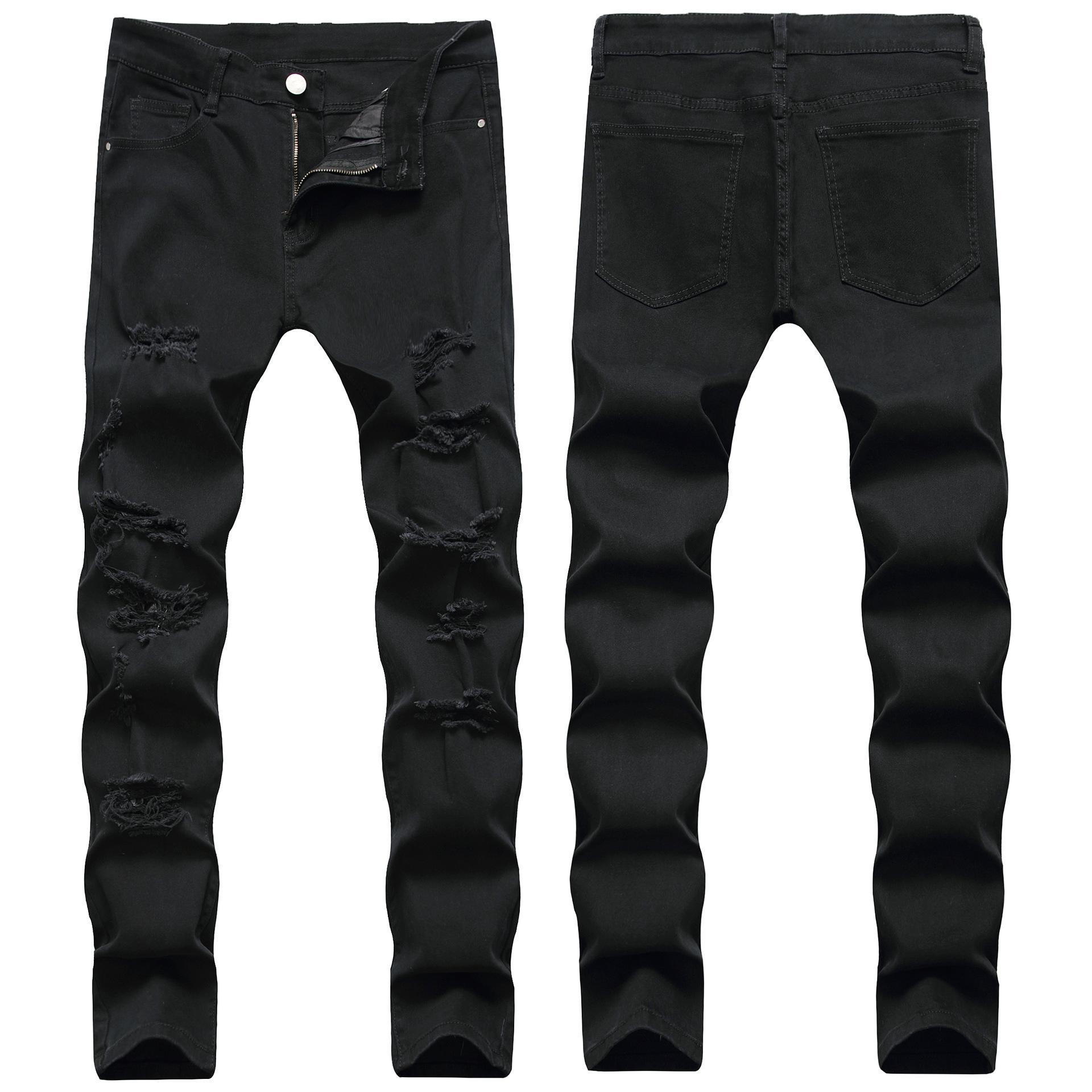 Sıska Erkek Siyah Kot Serin Erkekler Yırtık Kot Destory Delik Streç Slim Fit Denim Biker Jeans Hip Hop Erkekler Streetwear 2011 #