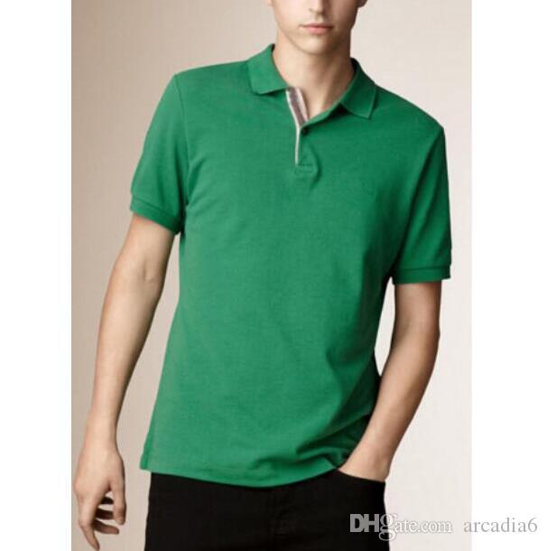 남성 캐주얼 폴로 셔츠 런던 브리트 스타일 코튼 티 티셔츠 짧은 소매 여름 레저 스포츠 폴로스 봄 가을 저지 티 블랙