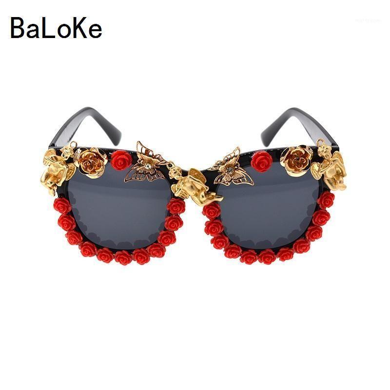 En Kaliteli Marka Tasarımcısı Melek Güneş Gözlüğü Moda Klasik Kırmızı Çiçek Güneş Gözlüğü Barok Kadın Güneş Plaj Glass1