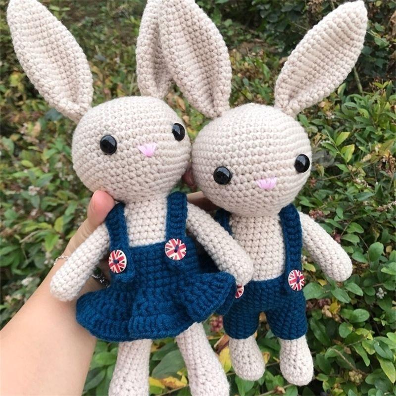 Cerca de 26 cm boneca de lã coelho de pelúcia brinquedos crochet tricô de algodão coelho boneca mão de tricô animais bonecas casal coelho bonecas 201222