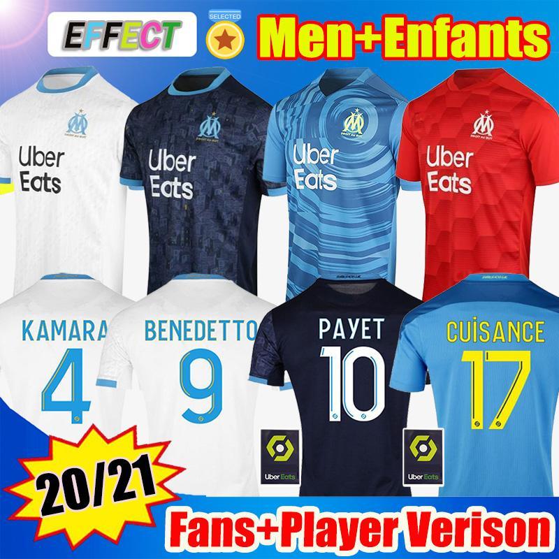 Olympique de Marseille Soccer Jersey 2020 2021 OM المشجعين لاعب نسخة مايلوت دي قدم بايت كامارا بينيديتو الاطفال 20 21 jenfants الفانيلة
