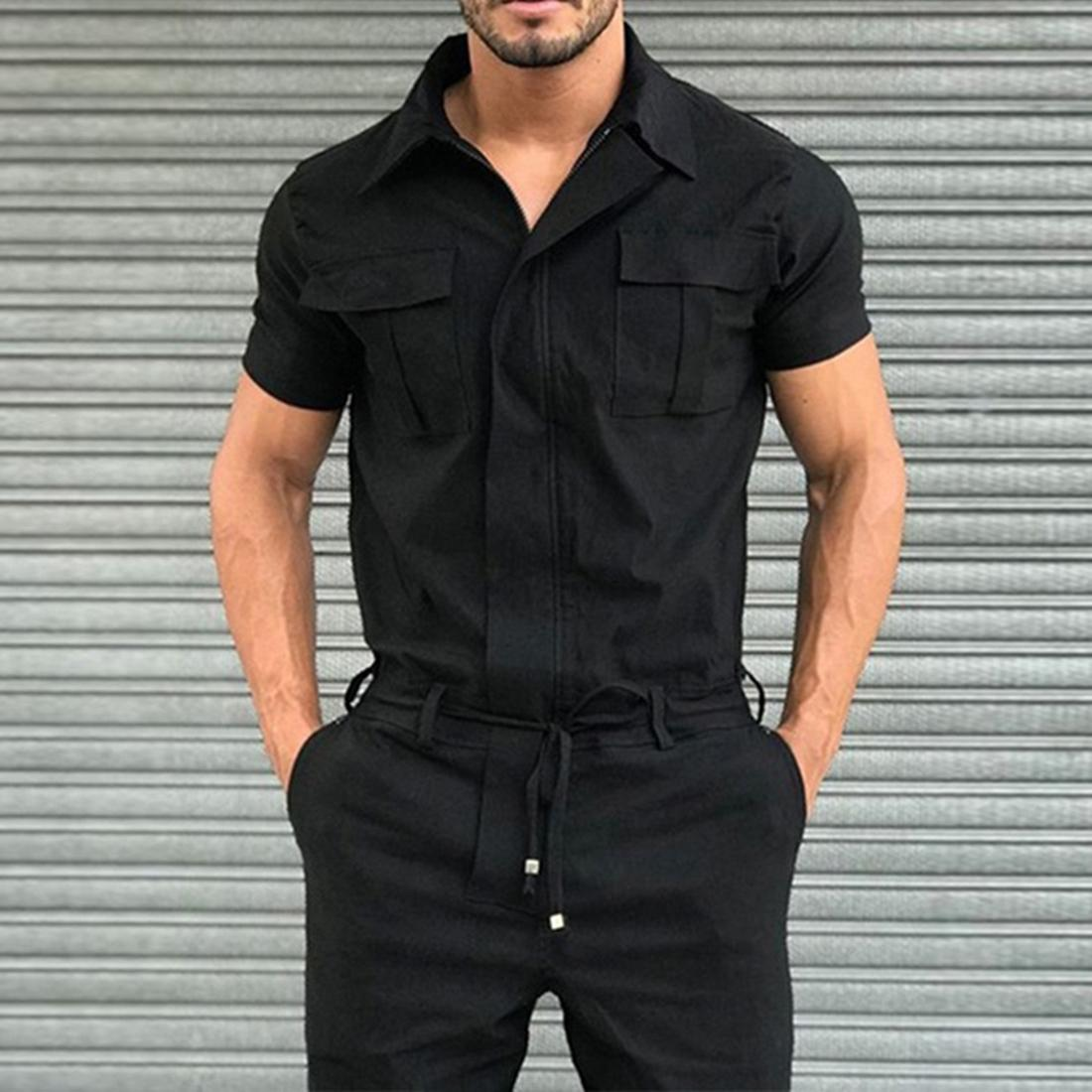 2020 Cargo Jumpsuit Mens Overalls Casual Notched Short Sleeve Rompers Solid Color Pocket Fashion Work Wear Streetwear 1109