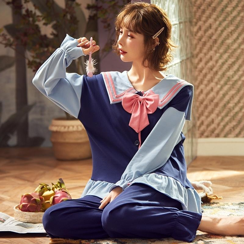 Весна осень милая принцесса ветер женские чистые хлопчатобумажные пижамы наборы элегантный с длинным рукавом лук кардиган сонные костюмы Sweet Pajamas 201027