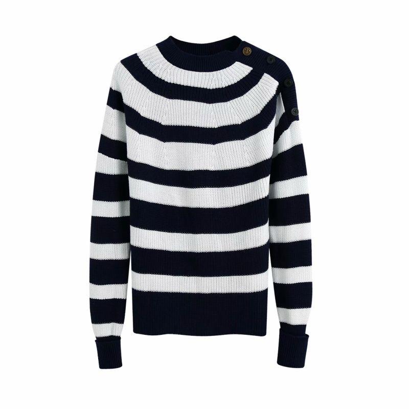 2021 Yeni Modası Çizgili Kadın Örme Donanma Sonbahar Boyun Ladies'tightly Örgü Düğme-Aşağı Fly Bayan Bluzlar Chic Mesh 8z2d
