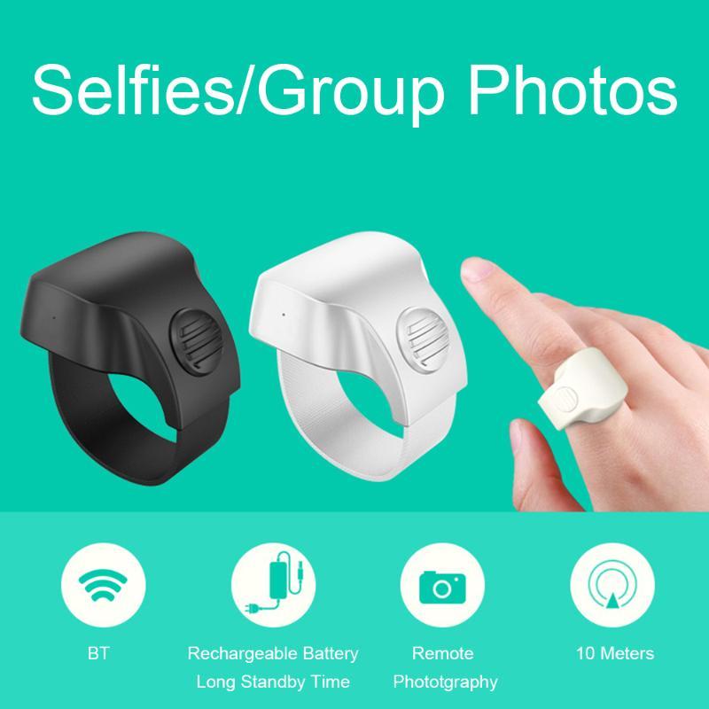 Rechargeable sans fil Bluetooth 5.1 Shutter Wearable selfie 10M Télécommande Annulaire pour Smartphone 4 couleurs