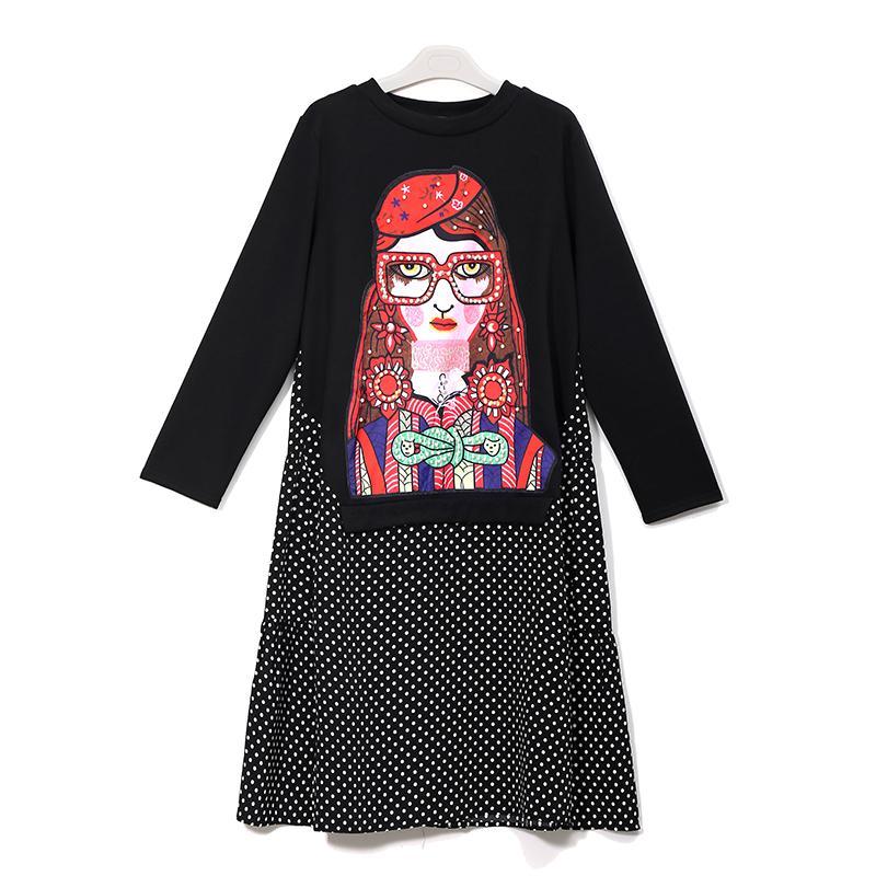 Nuevo 2020 otoño invierno mujer negro casual vestido de dibujos animados perlas lunares impresión manga larga dama linda midi vestido robe femme 3243 lj201203