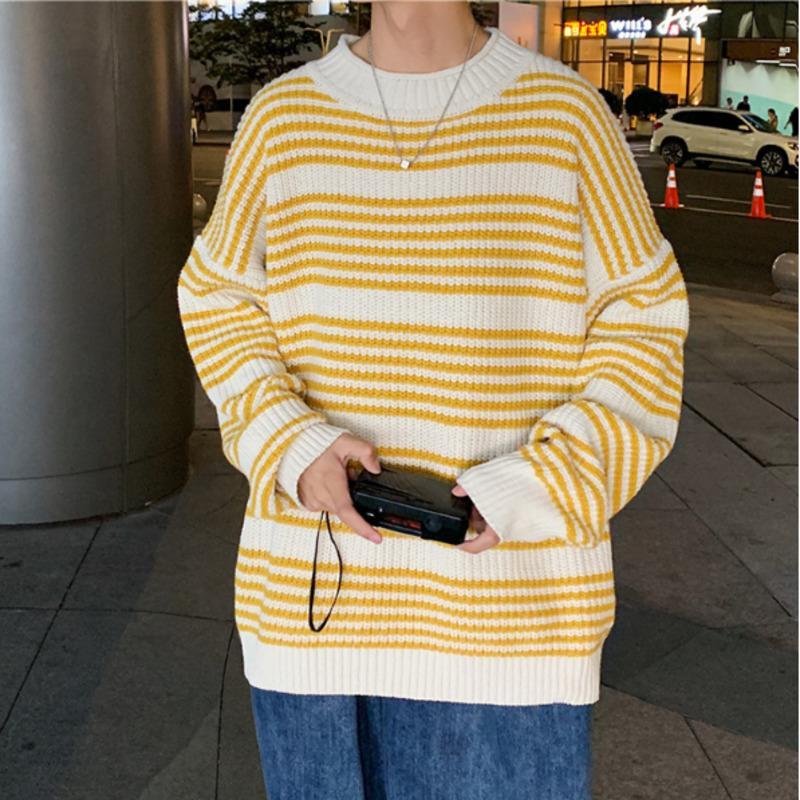 2020 Sonbahar Ve Kış Yeni Erkek Beyaz Çizgili Mürettebat Boyun Kazak Gevşek Ve Basit Casual Genç Triko Coat Boyut M-2XL