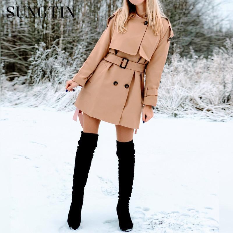 Sungtin New Otoño Invierno Mujeres Larga Trench Coat Khaki Moda Bolsillos Doble Breasted Tronch con Belt Business Outerwear