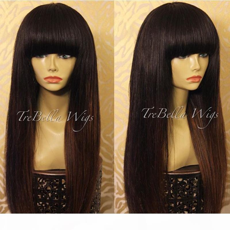 Nueva llegada del Perú cordón peluca del pelo humano de la franja de la peluca de cabello humano sin cola completa con flequillo blanqueados nudos para las mujeres Negro