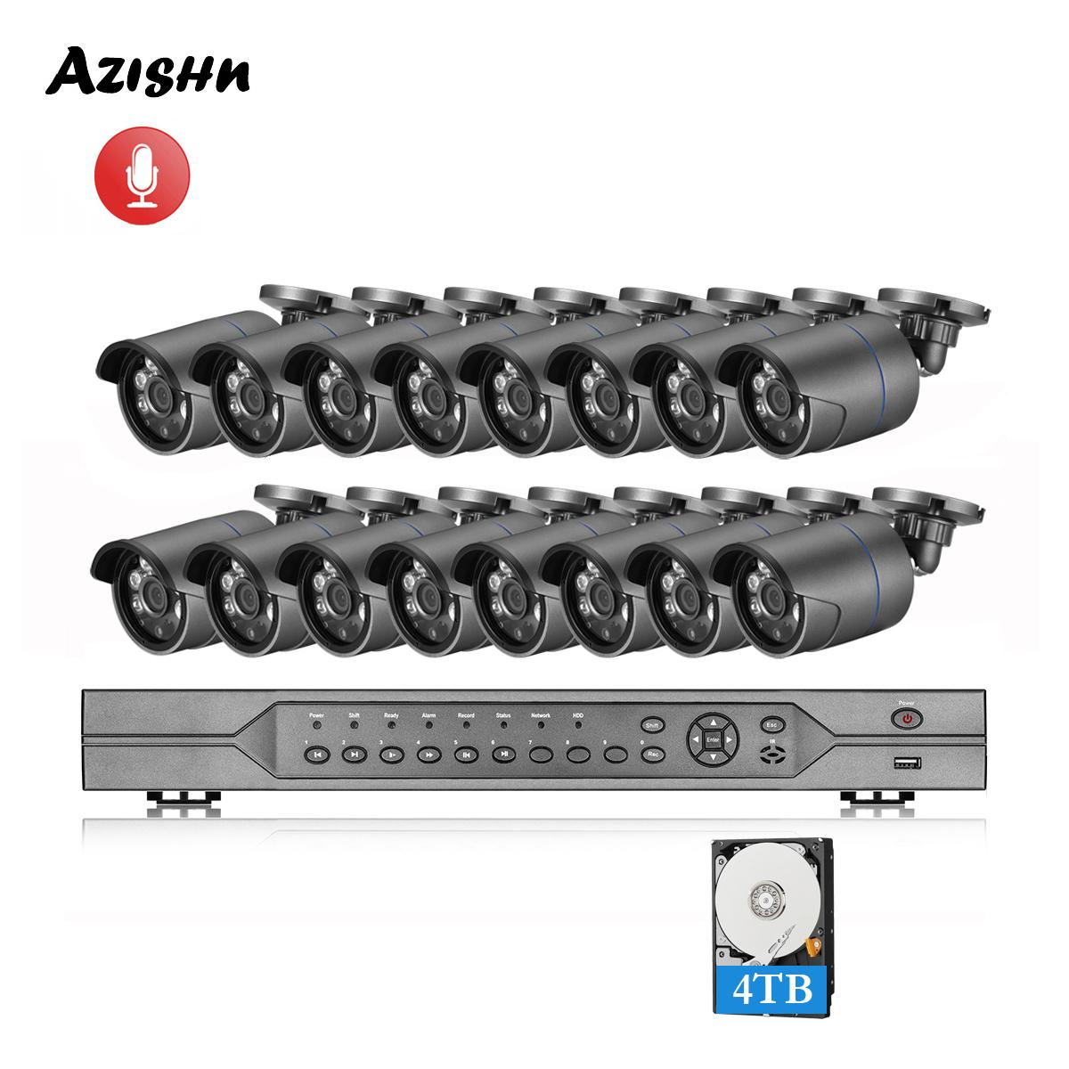 Azishn 16CH 5MP Poe NVR Kiti H.265 CCTV Güvenlik Sistemi Su Geçirmez 5MP 2592x1944 IP Kamera Yüz Algılama P2P Video Gözetleme Seti LJ201209