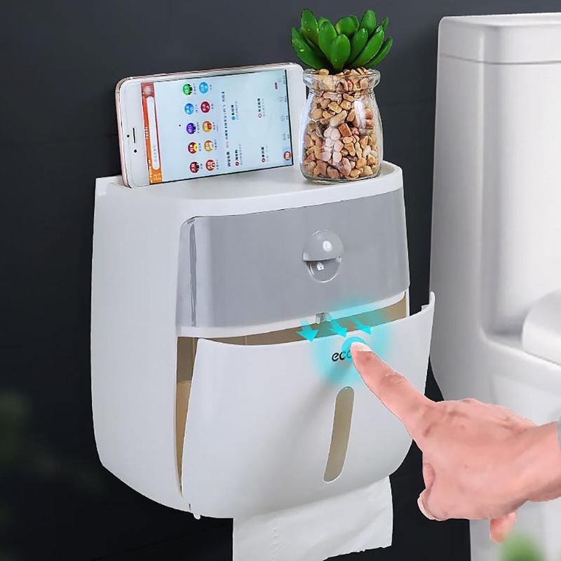1PC Double Layer Waterproof Wall Mount Toilet Paper Shelf Tray Roll Paper Holder Tube Storage Box Creative Tray Tissue Box Home