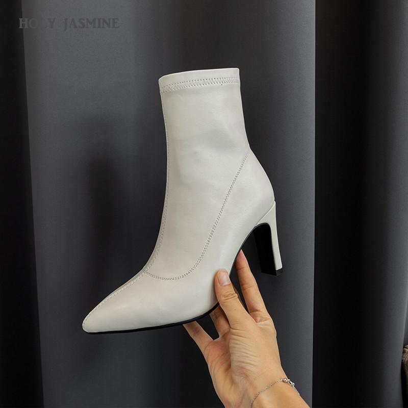 Stivali da donna caldi 2020 Nuovo autunno e inverno Slip-on slip-on cavigliato stivaletto stivali moda stivali a punta Super alta (8cm-up)