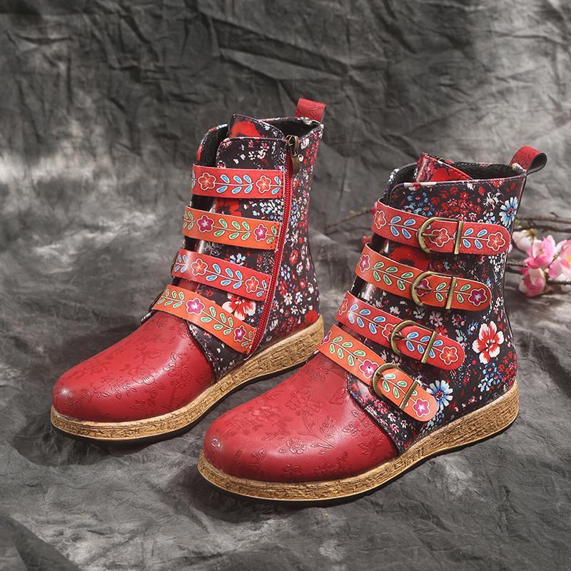 New Socofy Botas Mulheres Retro Impresso metal Buckle couro macio com zíper Botas calçados femininos Mulheres Botines Mujer 2020