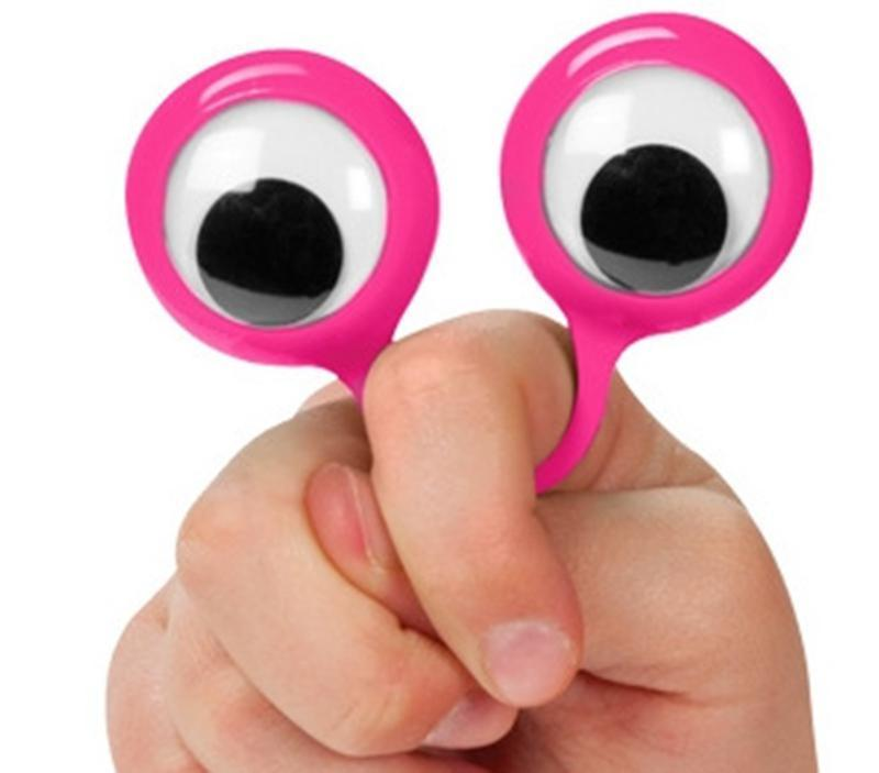 Eye Finger Puppets Plastic Rings With Wiggle Eyes Party Favors For Kids Assorted Colors Gift Toys Fillers Birthday &Party