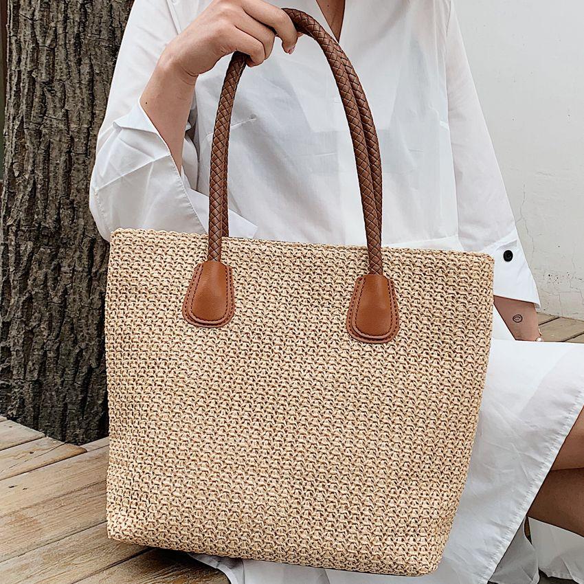 HBP Mode Damen Sommer Handtaschen Große Strandtasche Frauen Handgemachte Rattan gewebt Strohbeutel Böhmischen Umhängetaschen für Frauen SAC A MAIN