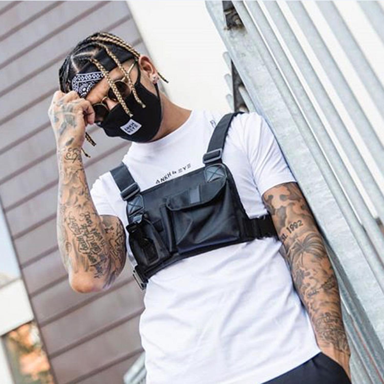 Sokak Stil Taktik Göğüs Teçhizat Çanta Hip Hop Kaykay Askeri Göğüs Çantası Erkekler Için Fonksiyonel Bel Paketleri Ayarlanabilir Yelek T200521