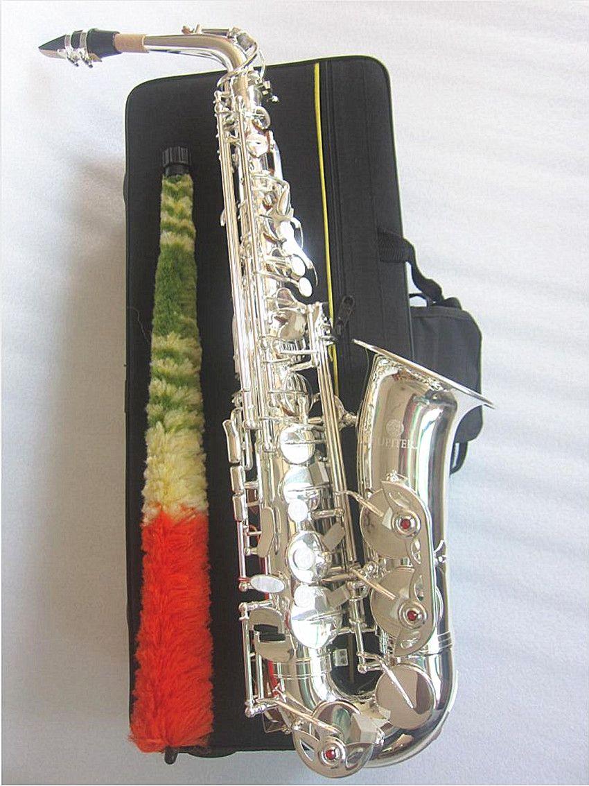 نيو المشتري JAS-700Q ألتو ساكسفون إب اللحن E شقة آلات موسيقية نحاسية بالفضة الجسم فضة مفتاح ساكس مع حالة لسان الحال