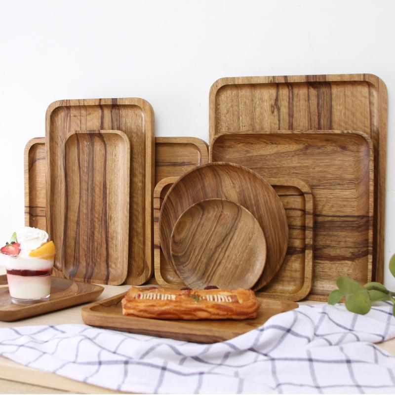 나무 원형 / 타원형 / 직사각형 서빙 트레이 나무 접시 차 식품 Dishe 음료 플래터 음식 플레이트 저녁 식사 쇠고기 스테이크 과일 스낵 트레이