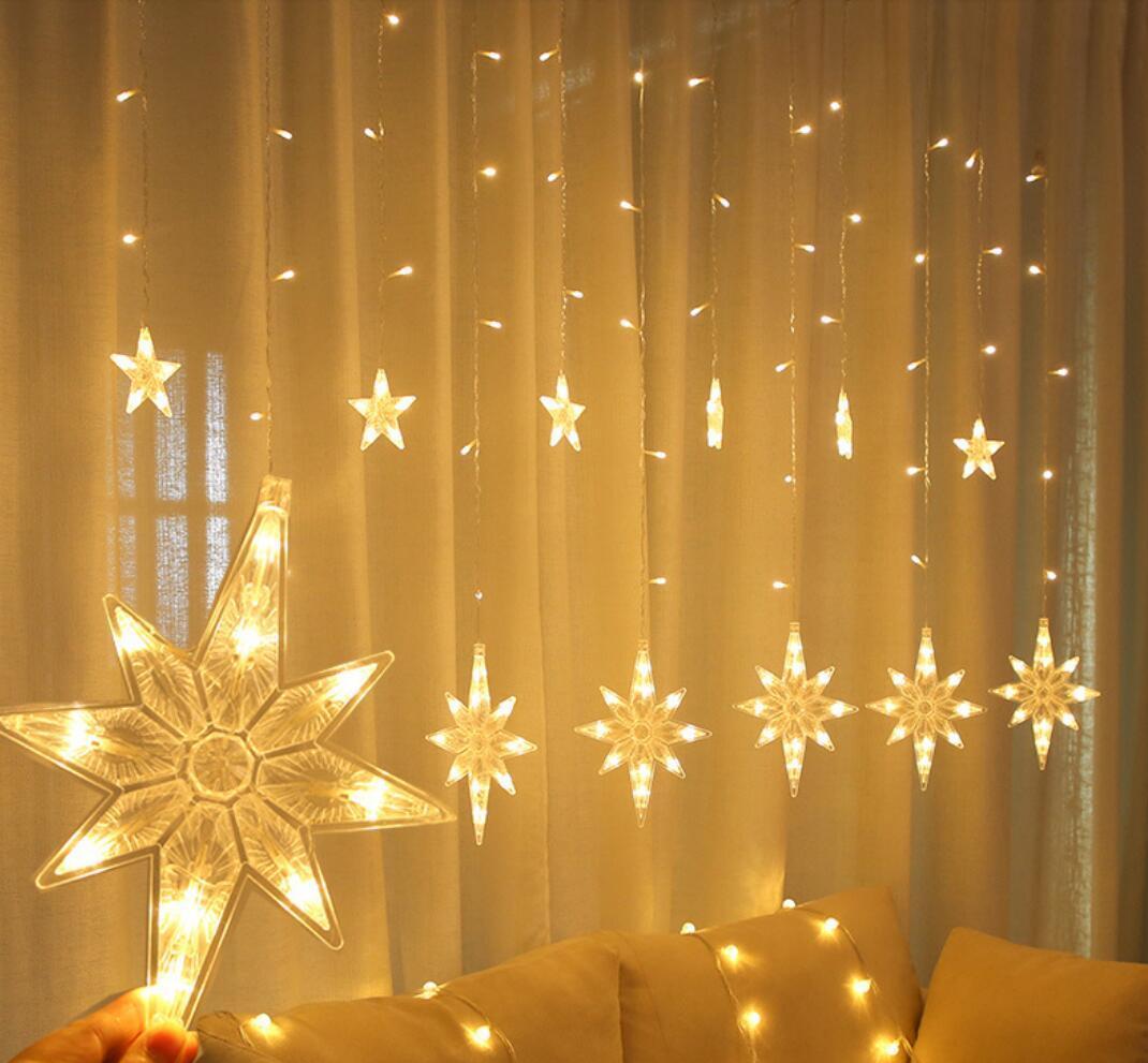 LED نورث ستار الستار الخفيفة 220V الاتحاد الأوروبي عيد الميلاد جارلاند سلسلة أضواء الجنية في الهواء الطلق لالنافذة حفل زفاف ديكور