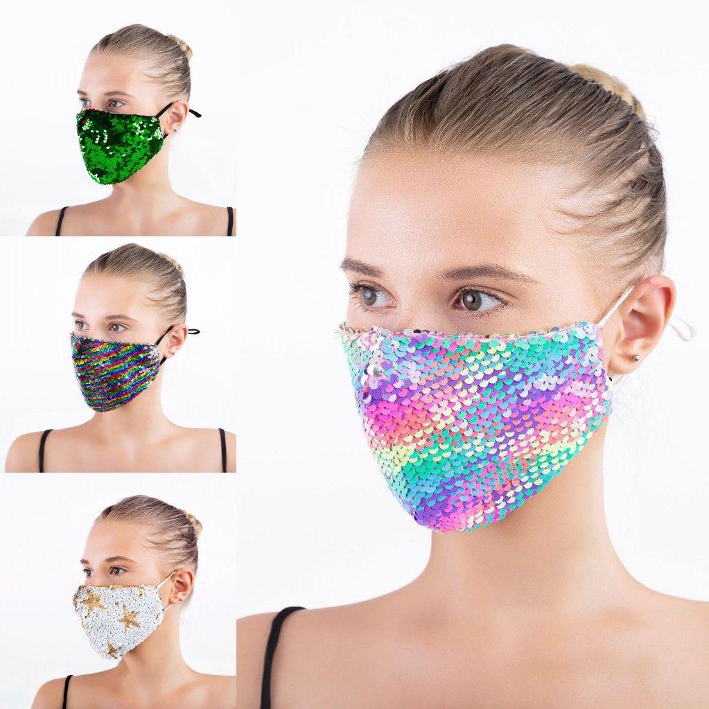 DHL доставку Bling Bling Sequin защитная маска пылезащитный моющийся ветрозащитный повторный звучание лица маска для лица эластичная раковина маска рта