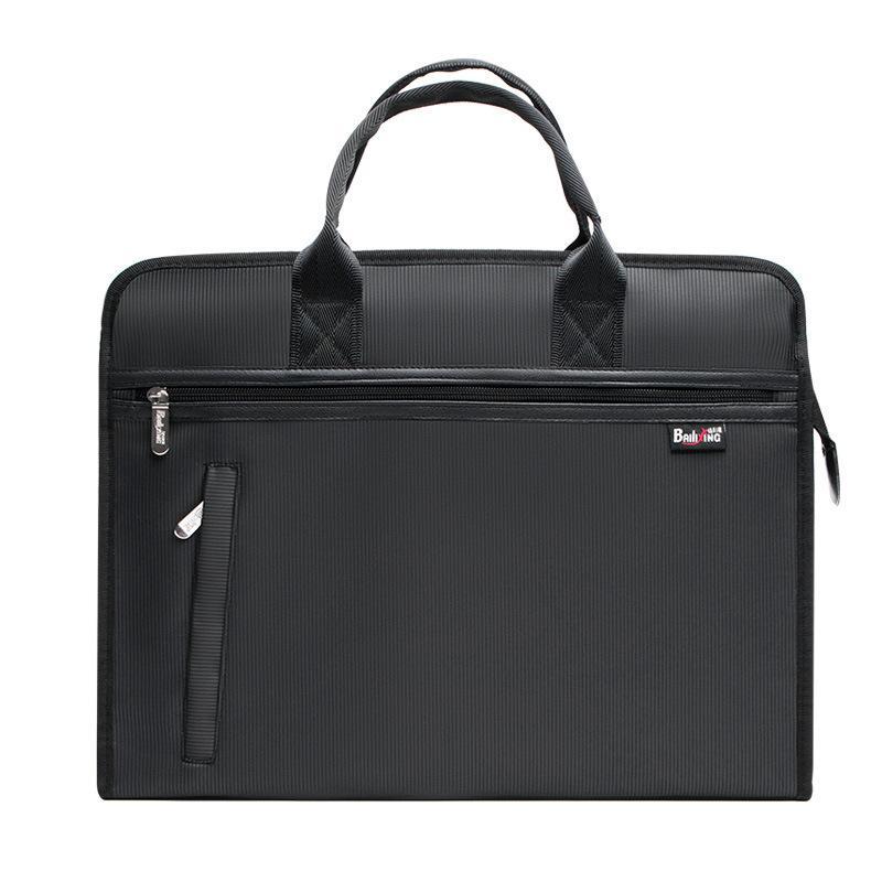Document Bag Portable Briefcase Large Capacity Zipper Business Laptop Notebook Soft Wear-resistant Waterproof Office Portfolio Q0112