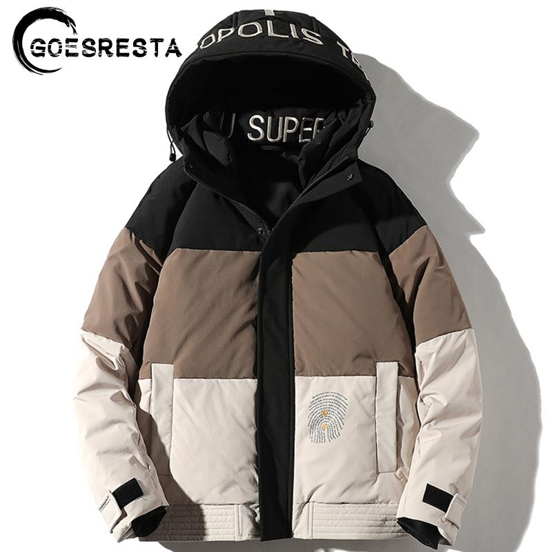 Goesresta 2020 nuevos hombres del grueso de la calle marea de la moda Marca Wild Winter 90% blancos ganso caliente de la capa de la chaqueta de los hombres