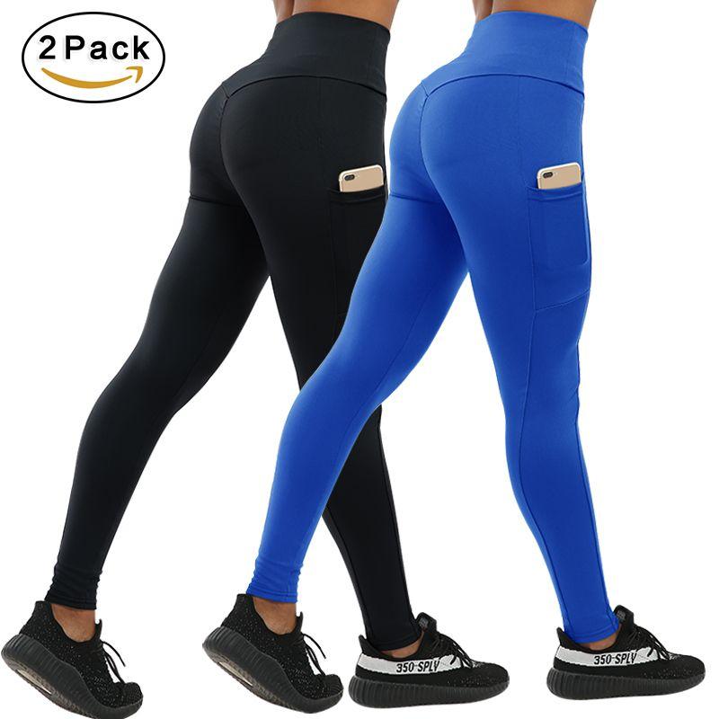 CHRLEISURE 2 ADET Moda Push Up Spor Tayt Kadınlar Ile Cepler Yüksek Bel Egzersiz Kadınlar Legging Patchwork Tayt Kadın T190613