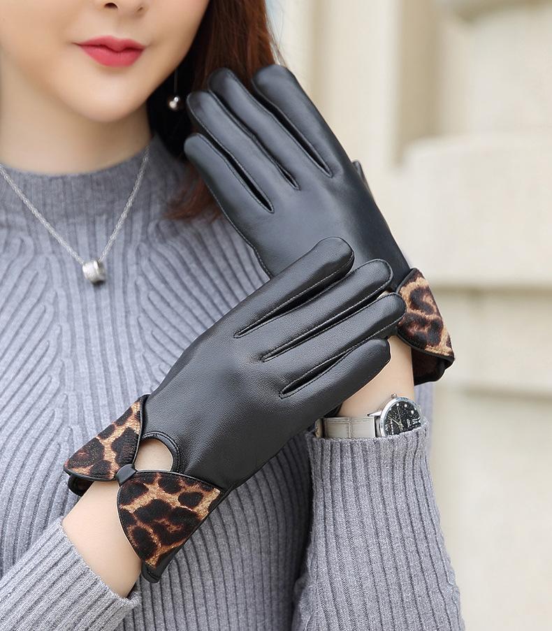 Luxe-Femmes Gants 100% cuir véritable peau de mouton Gants chaud chaud élégant complet doigts pour femmes Mitaines Véritable TBWA549 en cuir