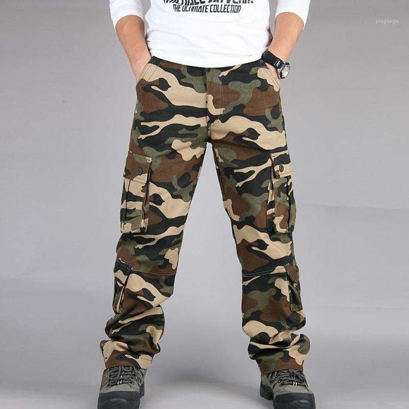 Pantaloni casual casual pantaloni maschili Fashion Pantaloni Camouflage Combat Cargo Escursionismo Esercito Pocket BAGGY1