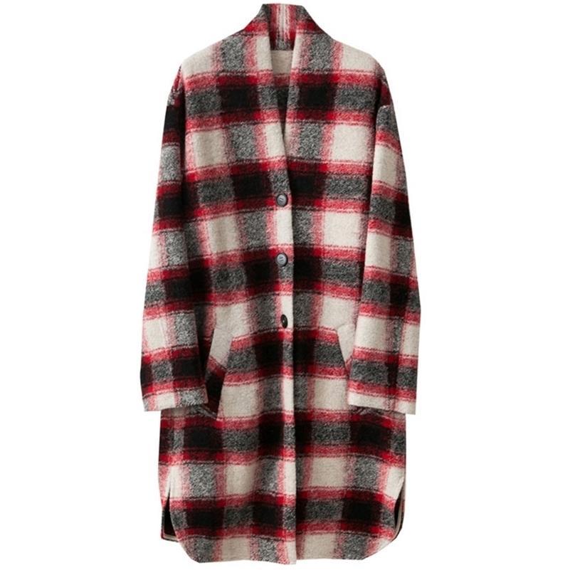 Kadın Moda Kontrollü Yün Ceket V-ECK Bırak Omuz Boy Uzun Mont Tek Göğüslü Cepler 2020 LJ201128