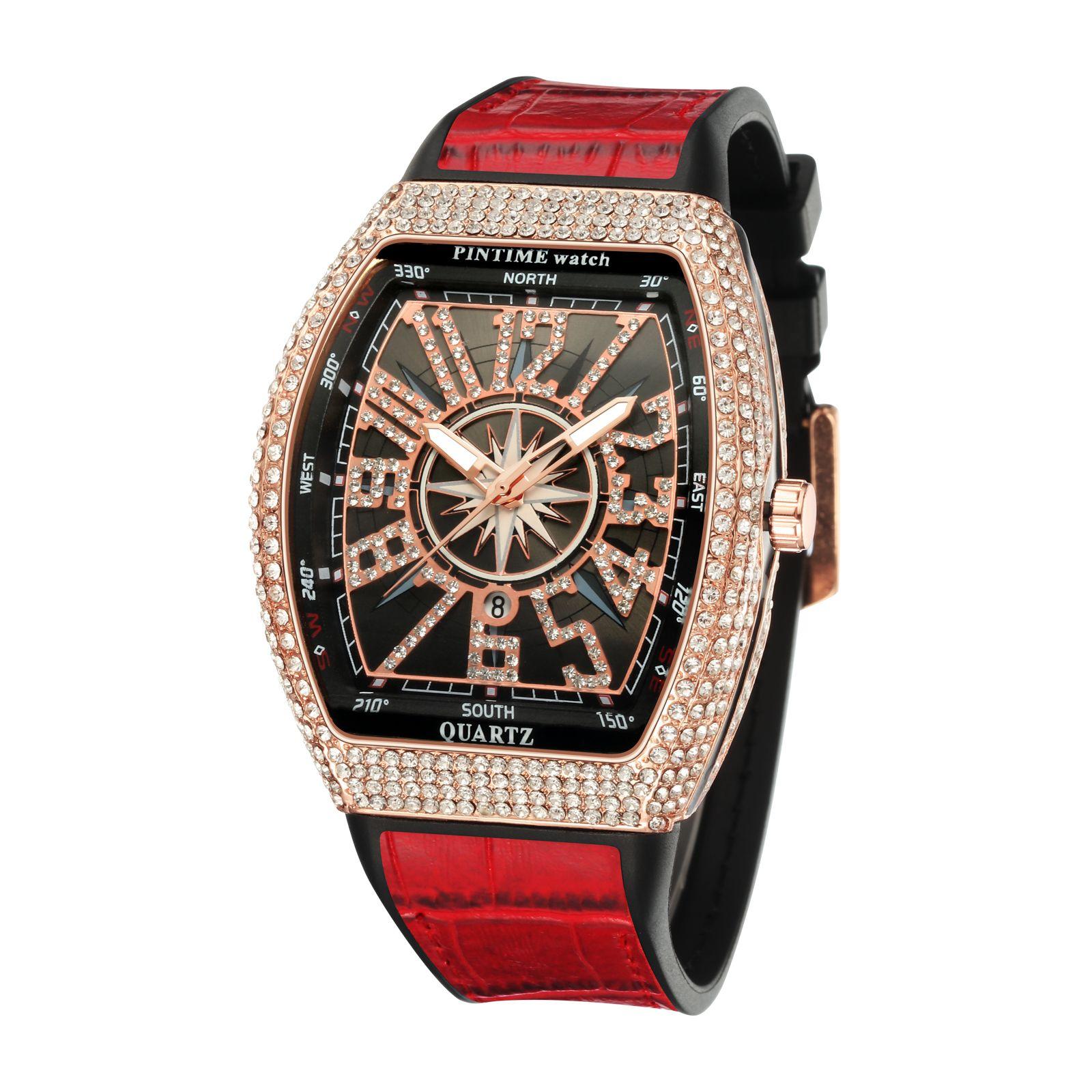 Reloj de Cuarzo Con Diamantes Para Hombre y Mujer, Cronografo de Lujo, De ACero, Estilo Hip Hop, Dorado Y Plateado