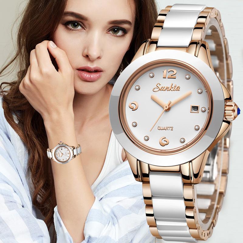 SUNKTA Fashion Women Watches Rose Gold Ladies Bracelet Watches Reloj Mujer 2019New Creative Waterproof Quartz Watches For WomenQ0108