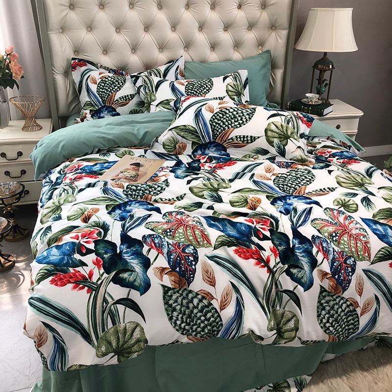 Botánico flores y hojas de cubierta del Duvet de la reina Rey cepillado suave de algodón caliente de cama Juego de cama hoja de la cubierta del edredón fundas de almohada