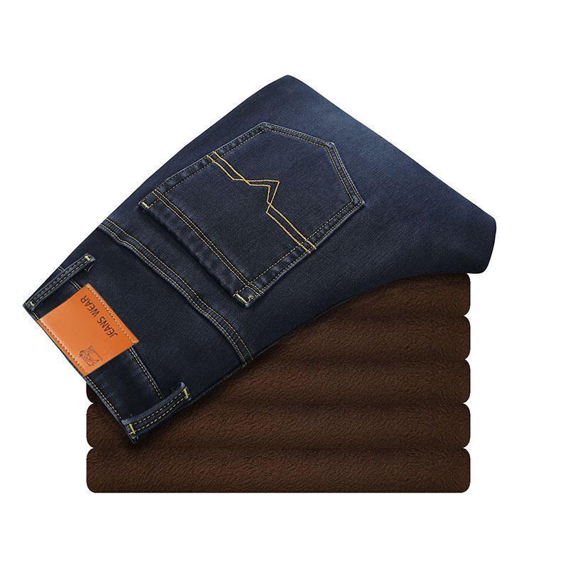 2020 Toison chaud affaires d'hiver Mode Thicken Denim Pantalons Stretch Jeans Mens Plus Size 40