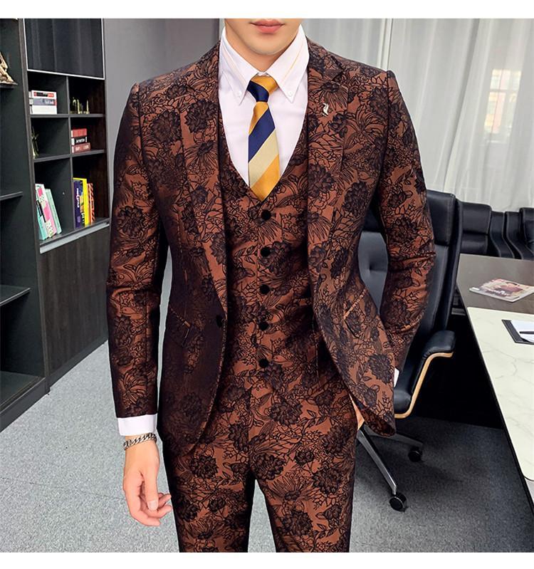 Groom Suits Latest Coat Pant Design Jacquard 3 Piece Men Suit With Pants For Wedding Dress Costume Homme Slim Fit Tuxedo 2020