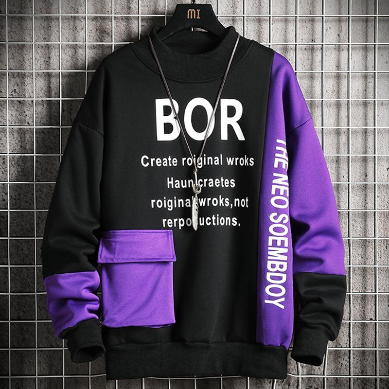 Cep Erkek O-Boyun Casual En Harf Baskılı Sweatshirt Erkekler 2020 Yeni High Street Hoodie Erkek Moda Patchwork Tişörtü