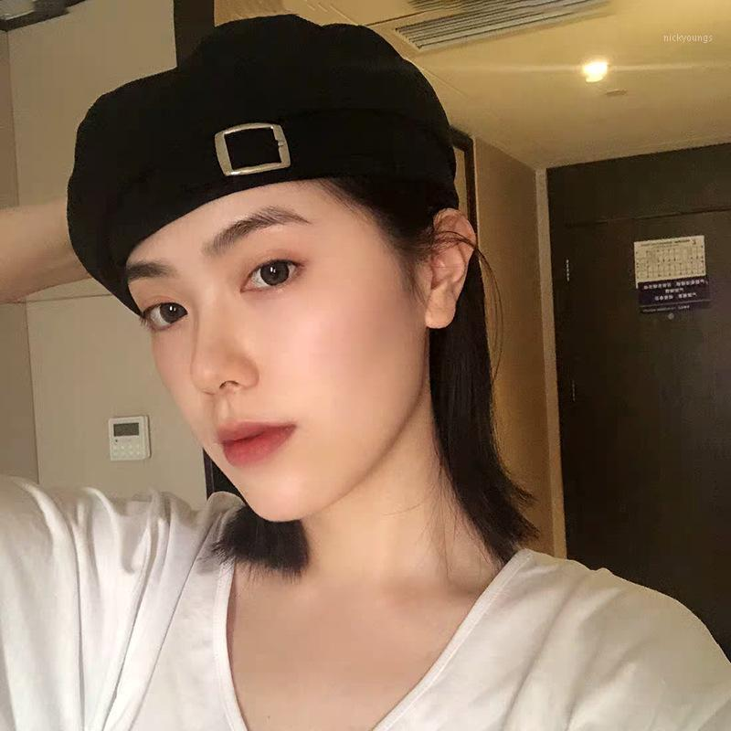 القبعات جين-swhbias النساء جلد الغزال مشبك المعادن قبعة مثمنة 2021 الرسام الفرنسي القبعات الخريف الشتاء الدافئ السيدات hats1