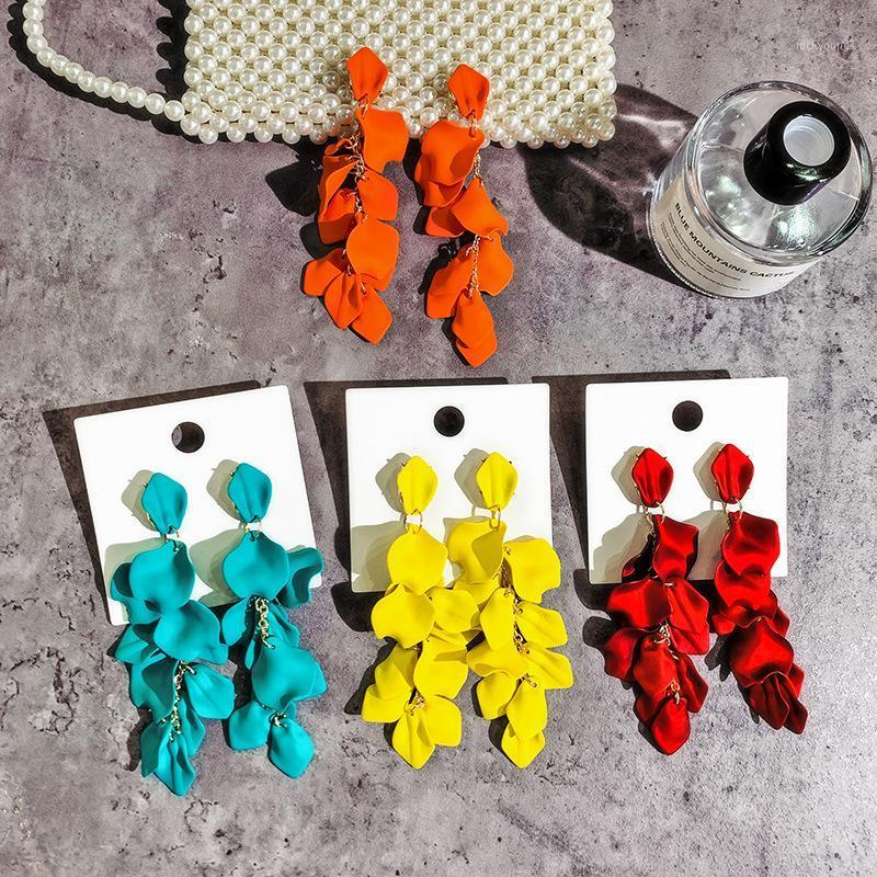 2020 Korea hot fashion jewelry long exaggerated rose petals earrings 5 colors beach party earrings for women gift1