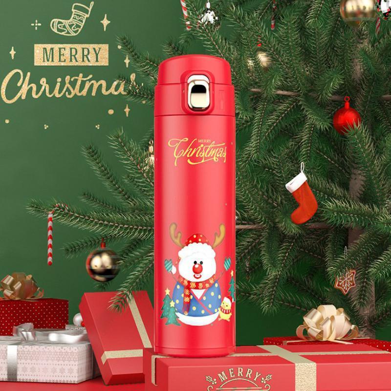 Самая низкая 16oz Рождество бутылки воды Подарок Рождество Мультфильм Санта-Клауса Элк Изолировать Термос Рекламные Xmas термосы BWD2254