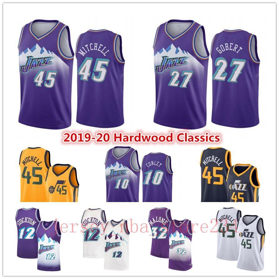 2019UtahJazzDonovan 45 Mitchell Jersey Mike 10 Conley John 12 Stockton Rudy 27 Gobert Karl 32 Malone Basketball Jerseys