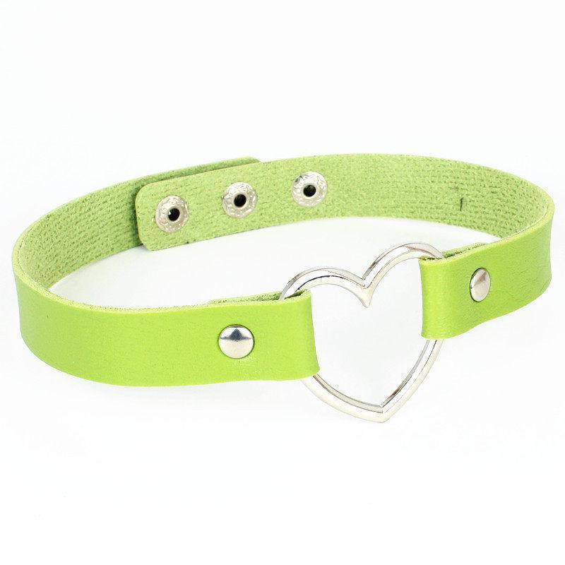 Coração de aço de forma fêmea Choker na moda inoxidável gargantilhas colares coloridos de couro Jóias fivela de cinto por Mulheres Homens colar