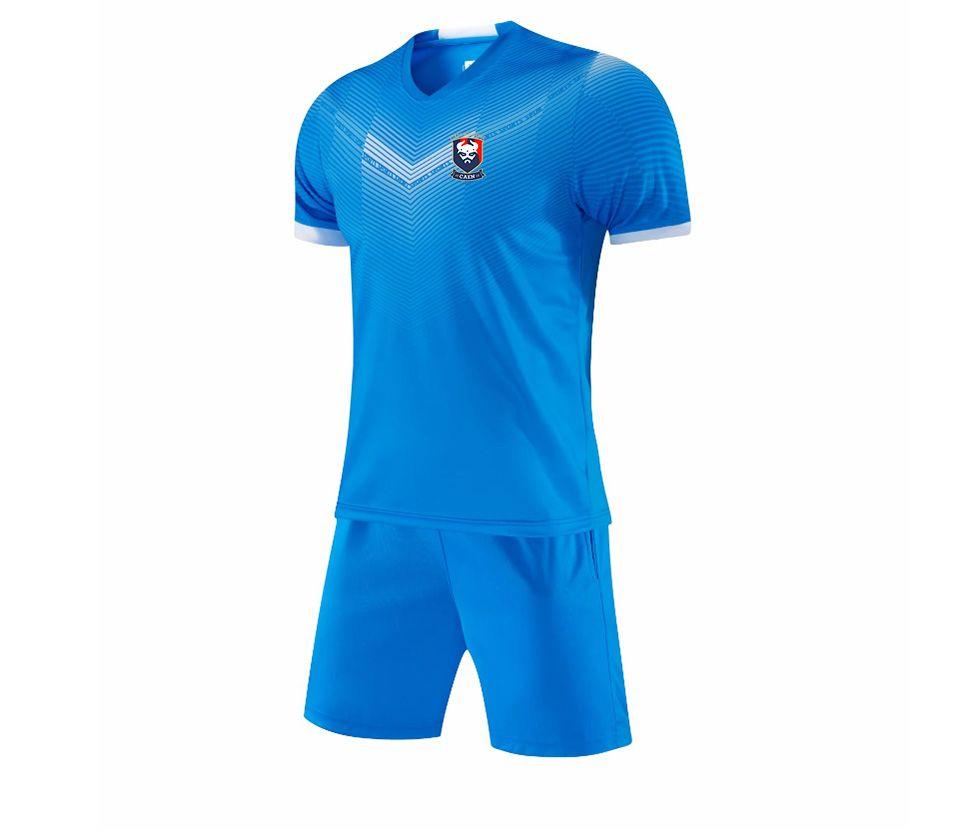2021 Stade Malherbe de Caen Running Sportswear Quick Dry Kids Soccer Jersey Adult Short Training Set Men's Football Jersey