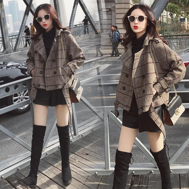 Женская шерстяная смесь шерстяных пальто женский короткий корейский двубортный плед тонкие женщины зимняя женщина пиджак1