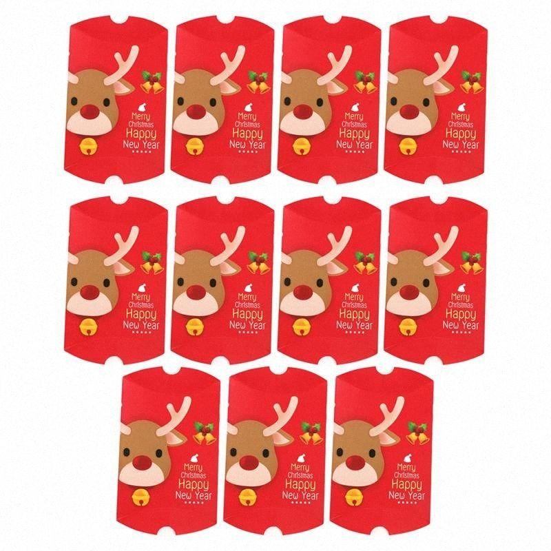 11pcs de Navidad elegante caja del caramelo de chocolate de la forma de almohada Galletas casos, la esfera de Navidad presenta los rectángulos para el festival del partido del hogar GlZ2 #