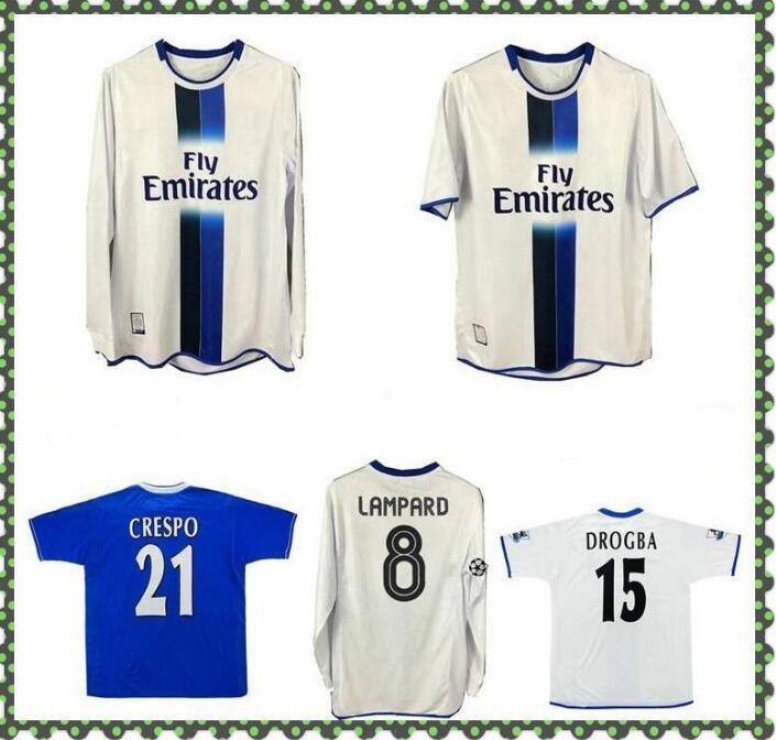2003 2005 Lampard Gudjohnsen Veron Mutu Drogba Crespo Hasselbaink Zola Retro Soccer Jersey 03 05 Terry Robben Camisa de Futebol Vintage