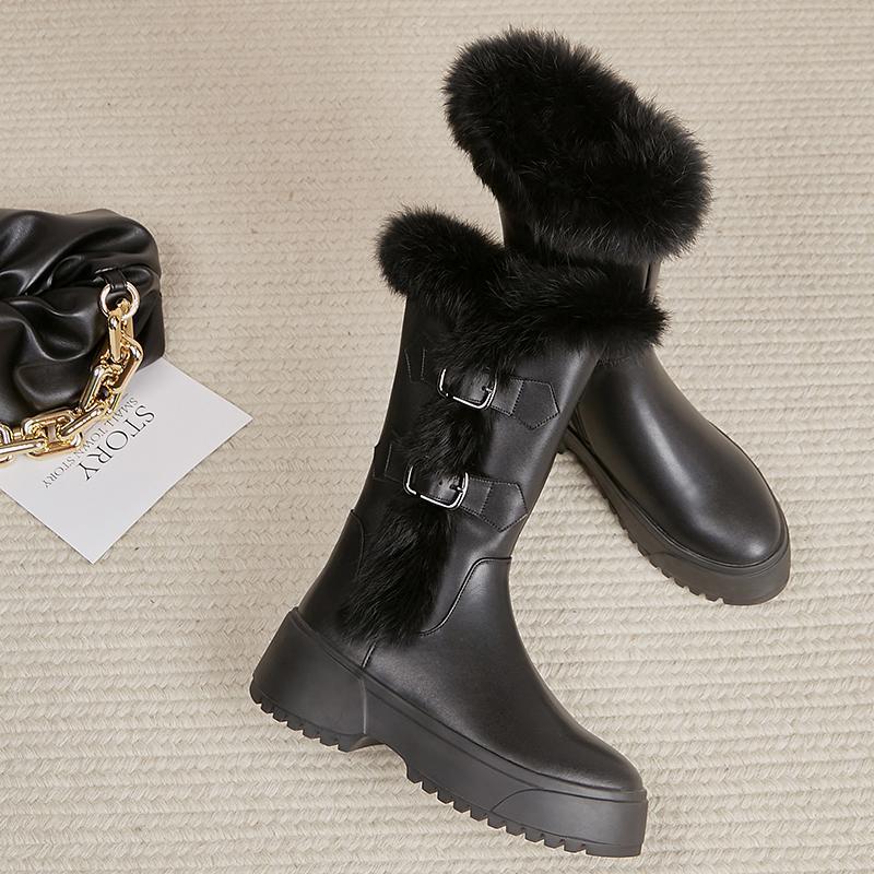부츠 여성의 정품 가죽 플랫폼 Falts 중간 송아지 겨울 따뜻한 봉제 스노이 모이브 금속 버클 캐주얼 두꺼운 솔 하프 신발