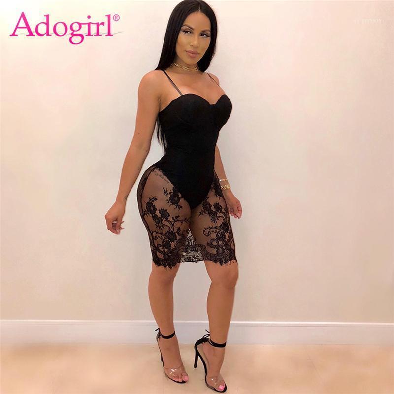 Повседневные платья Adogirl кружева вязание крючком прозрачной сетки спагетти ремешки платье женщины сексуальные без бретелек bodycon мини-клуб party bodysuit vestidos1